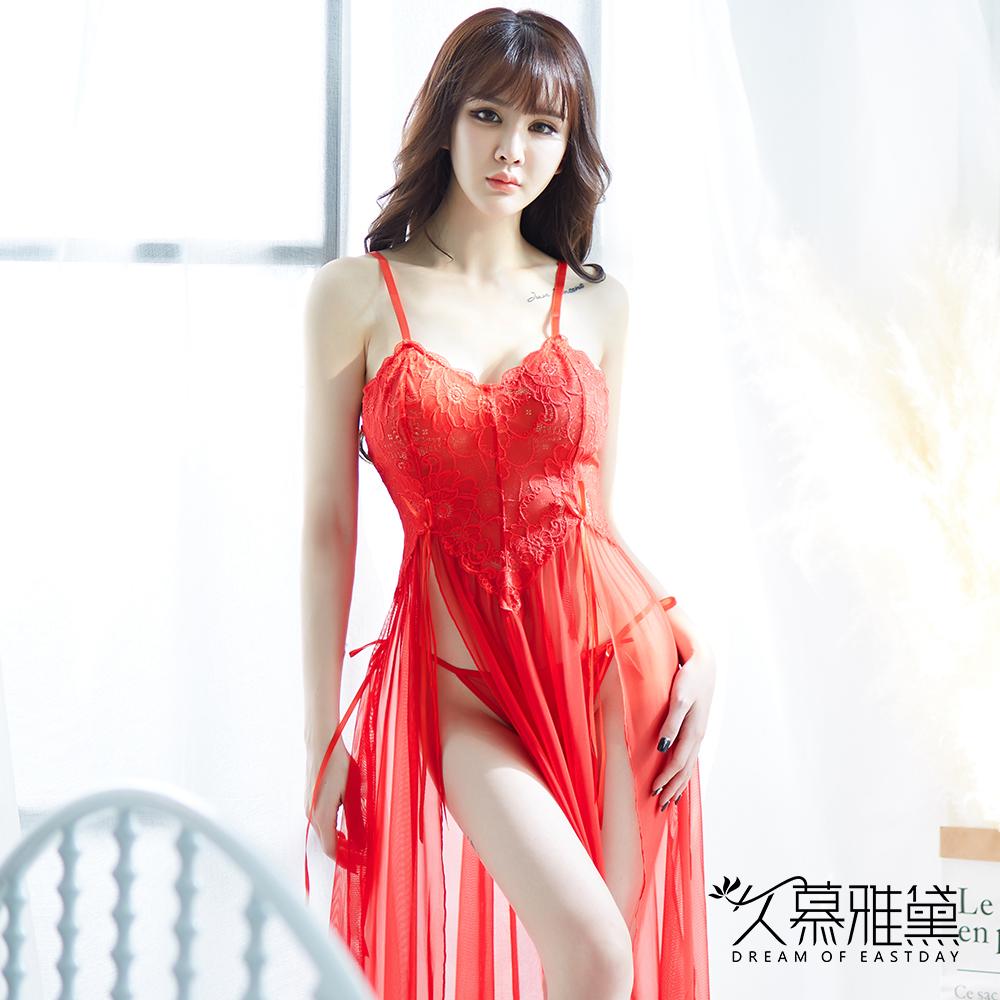 性感睡衣 鏤空花朵蕾絲側開叉吊帶長裙。紅色 久慕雅黛
