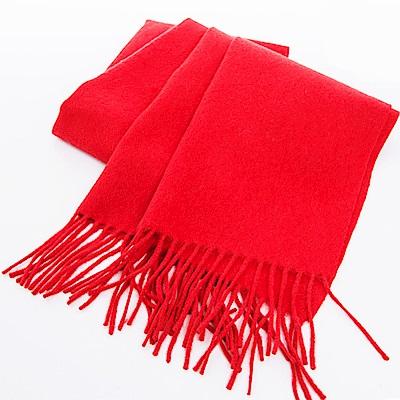 ELLE純羊絨羊毛親膚保暖披肩薄圍巾披肩_紫/紅