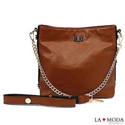 La Moda 本季最HOT小香風菱格紋肩背大容量斜背鏈帶大包(棕)