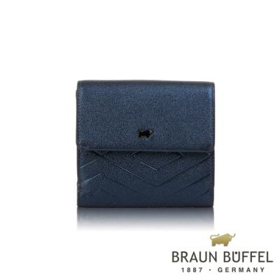 【BRAUN BUFFEL 德國小金牛】台灣總代理 解鎖 8卡兩折短夾-印度藍/BF671-404-II
