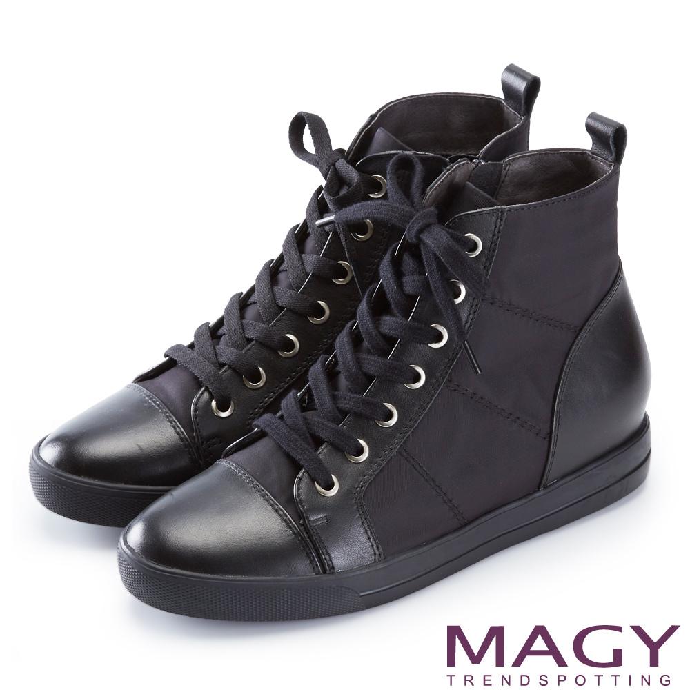 MAGY 個性街頭  牛皮拼接防水布面綁帶內增高短靴-黑色
