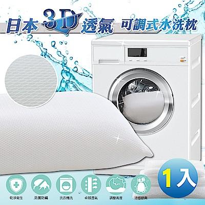 【格藍傢飾】日本3D透氣可調式水洗涼感枕-1入(不含枕套)