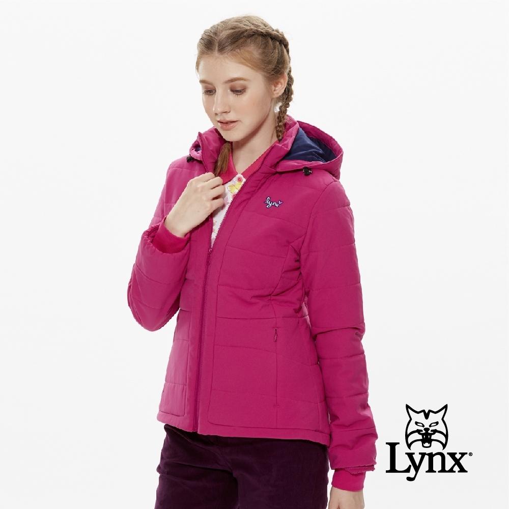 【Lynx Golf】女款橫條鋪棉可拆式帽子長袖外套-紫紅色