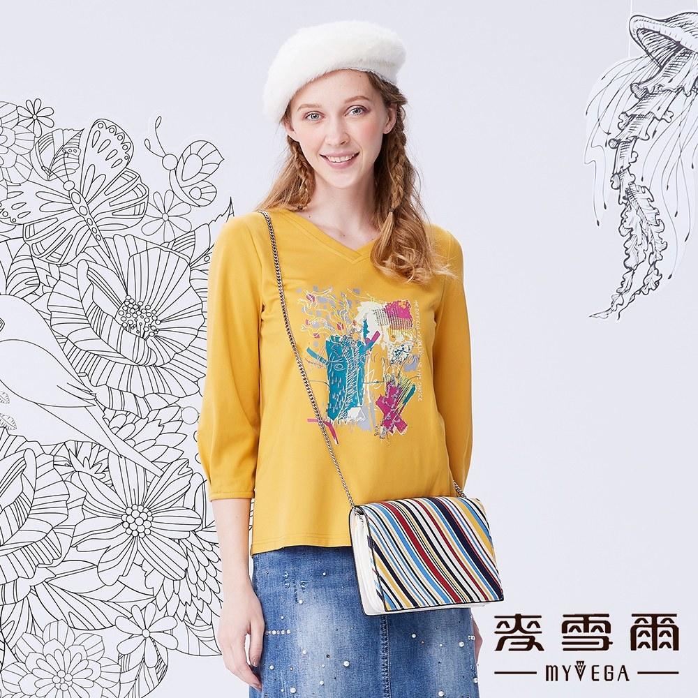 MYVEGA麥雪爾 時尚彩繪風亮片T恤-黃