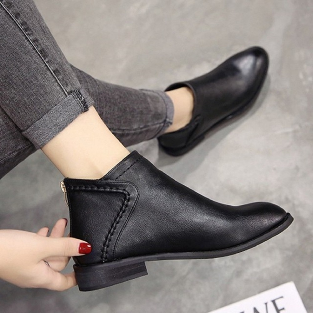 LN 現+預 英倫線條厚拉鍊裸靴-2色