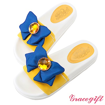 Grace gift-美少女戰士水手蝴蝶結休閒拖鞋 黃