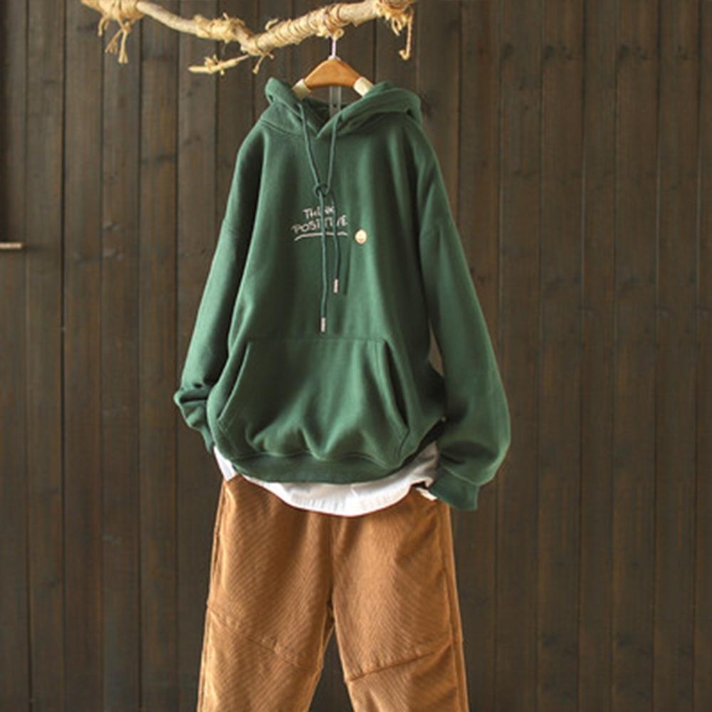 素色字母刺繡抽繩連帽加絨衛衣寬鬆上衣-設計所在