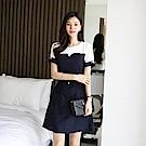 【AIRKOREA正韓空運】腰帶雙色拼接連衣裙