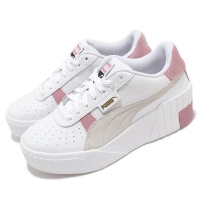 Puma 休閒鞋 Cali Wedge Mix 運動 女鞋 基本款 厚底 簡約 皮革 舒適 穿搭 白 粉 37390602