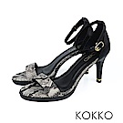 KOKKO -時髦一字細帶真皮高跟涼鞋 - 蛇紋黑