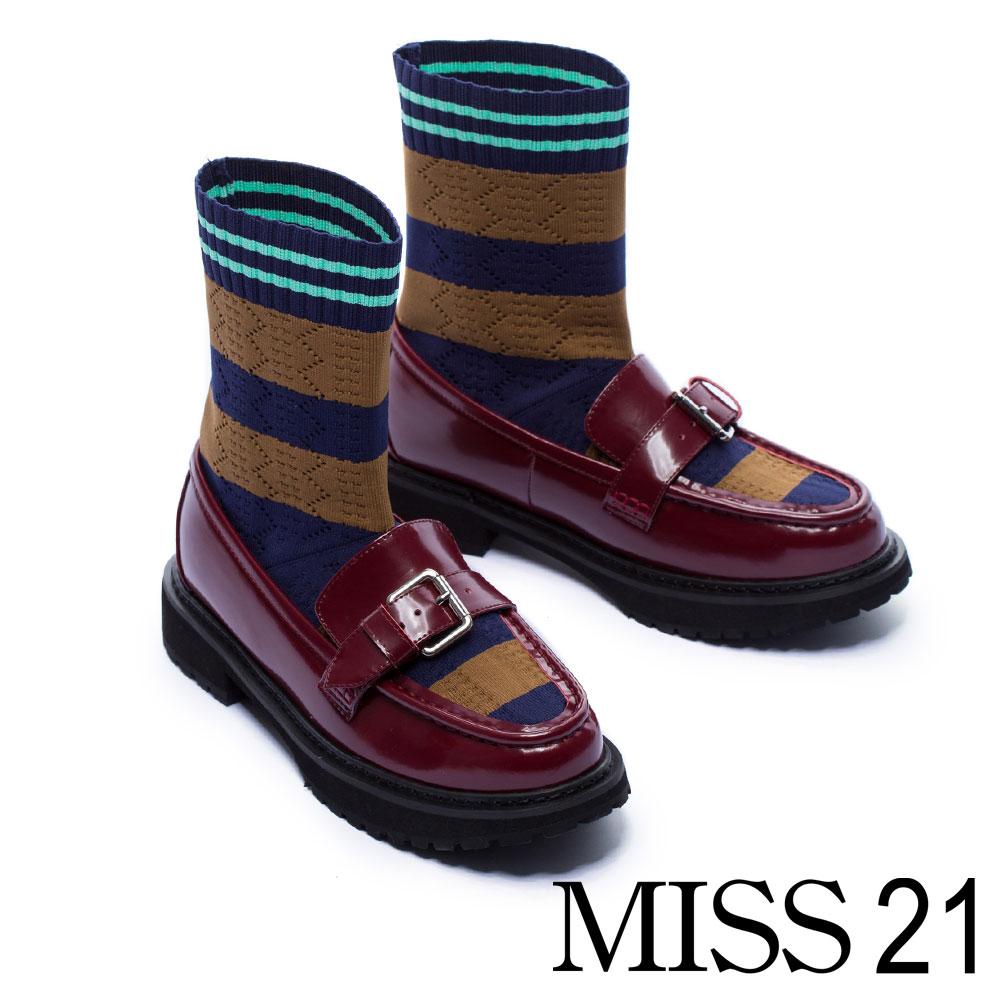 厚底鞋 MISS 21 懷舊英倫造型拼接襪套式厚底鞋-紅