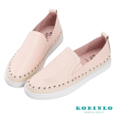 Robinlo 粉嫩活潑鉚釘草編休閒鞋 粉色