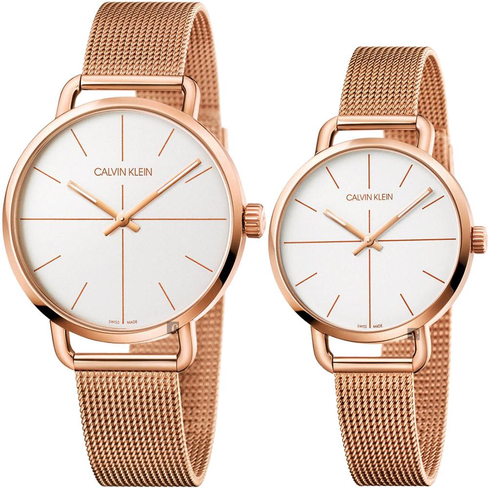 Calvin Klein CK Even 超然系列十字線米蘭帶對錶-銀x玫瑰金