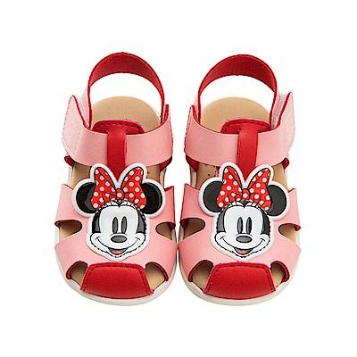 迪士尼 米妮 可愛復古造型 職人手工涼鞋-粉