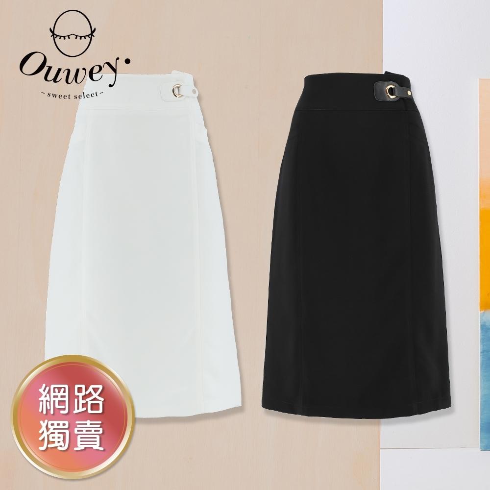 OUWEY歐薇 百搭素面剪接造型鉛筆裙(白/黑)3212102105