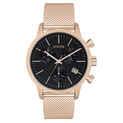 LOVME 城市獵人個性米蘭時尚手錶-IP玫x黑/43mm