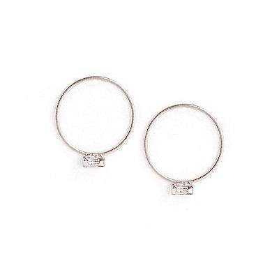LOVER S TEMPO加拿大品牌 長方形水晶銀色圓圈耳環