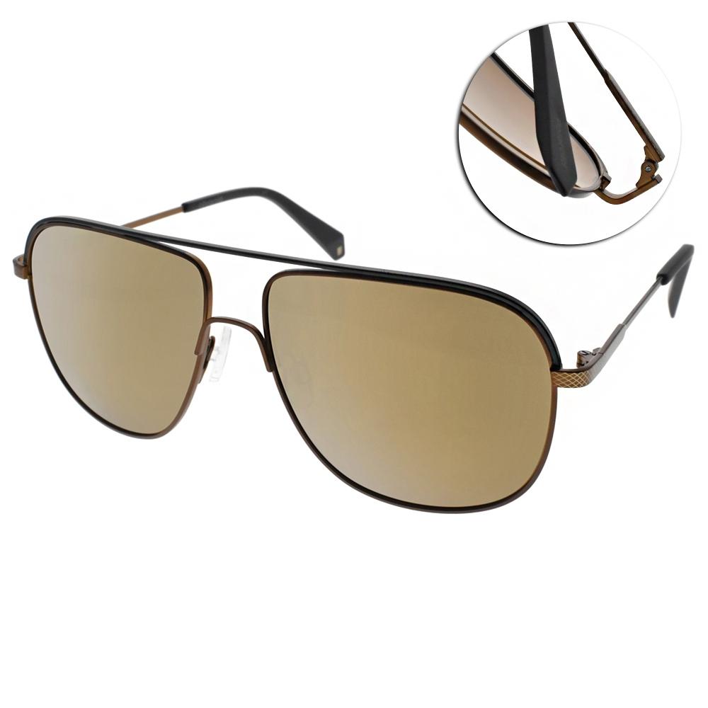 Polaroid 水銀偏光太陽眼鏡 霸氣雙槓款/銅黑 #PLD2055S 210LM