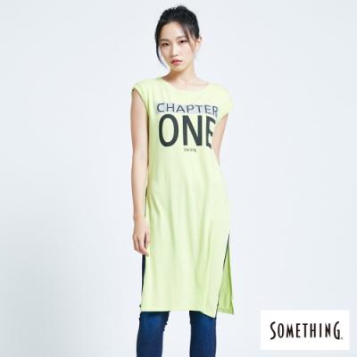 SOMETHING 反光標語 長版連袖T恤-女-嫩綠色