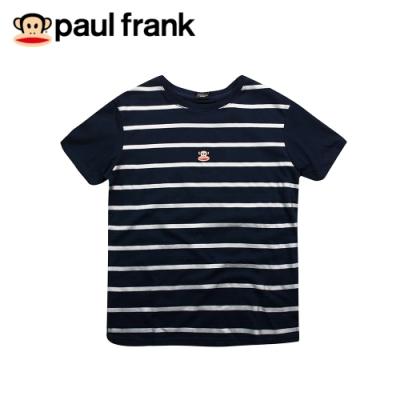 paul frank 電繡猴頭修身條紋短T-深藍(中性版)
