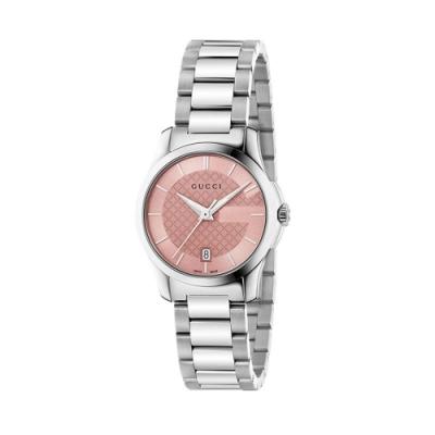 GUCCI G-TIMELESS石英帥氣時尚腕錶/粉紅色27mm(YA126524)