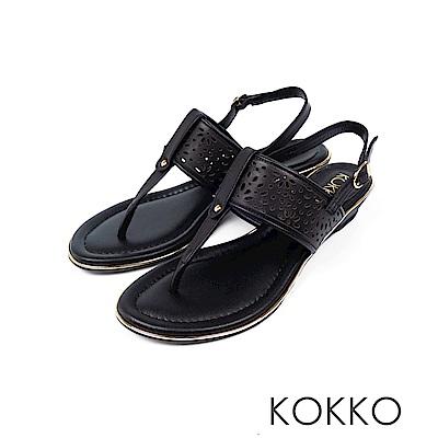 KOKKO - 優雅漫步牛皮夾腳坡跟涼鞋 - 經典黑