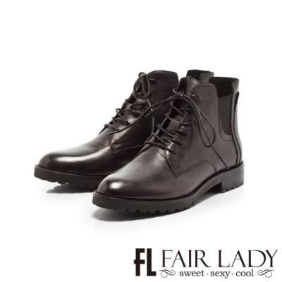 FAIR LADY 學院風綁帶拼革厚底短靴 黑