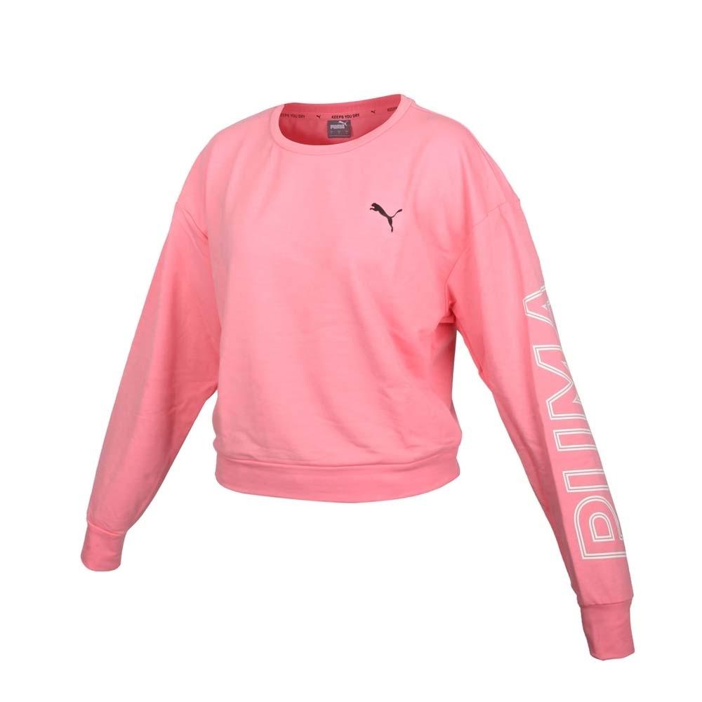 PUMA 女基本系列短版長袖T恤-歐規 慢跑 路跑 吸濕排汗 上衣 58353927 粉紅黑