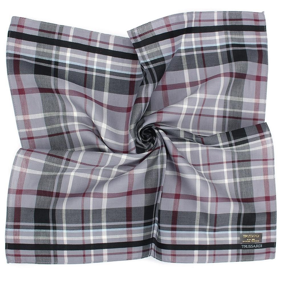 TRUSSARDI 學院風格紋純棉帕巾-灰紅