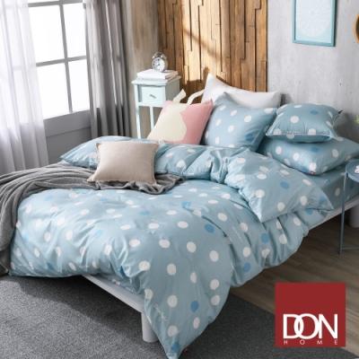 DON極簡日常 加大四件式200織精梳純棉被套床包組-圓點-薄荷綠