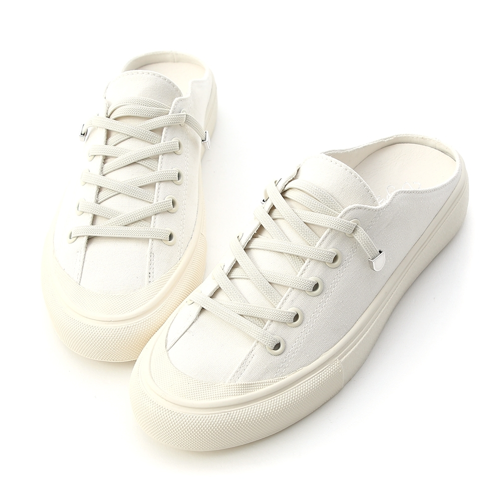 D+AF 休閒百搭.鬆緊綁帶休閒帆布穆勒鞋*白