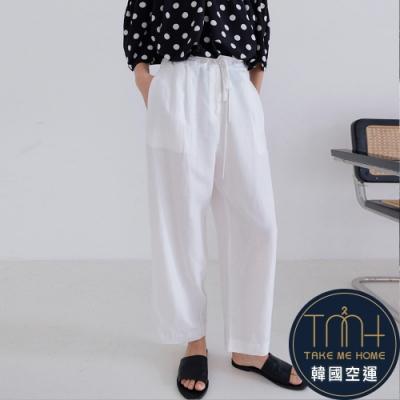 韓國空運 抽繩棉麻直筒褲-2色-TMH