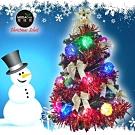 摩達客 繽紛2尺(60cm)經典裝飾綠色聖誕樹(紅金系)+20燈LED藤球燈串(插電式)