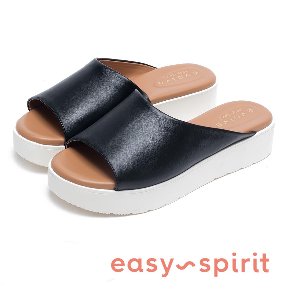 Easy Spirit FLORA 輕量素色皮革厚底拖鞋-黑色