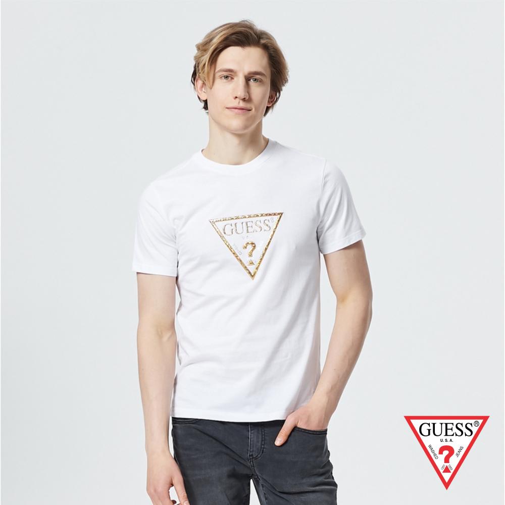 GUESS-男裝-個性金色PVC印刷LOGO短T,T恤-白 原價1390