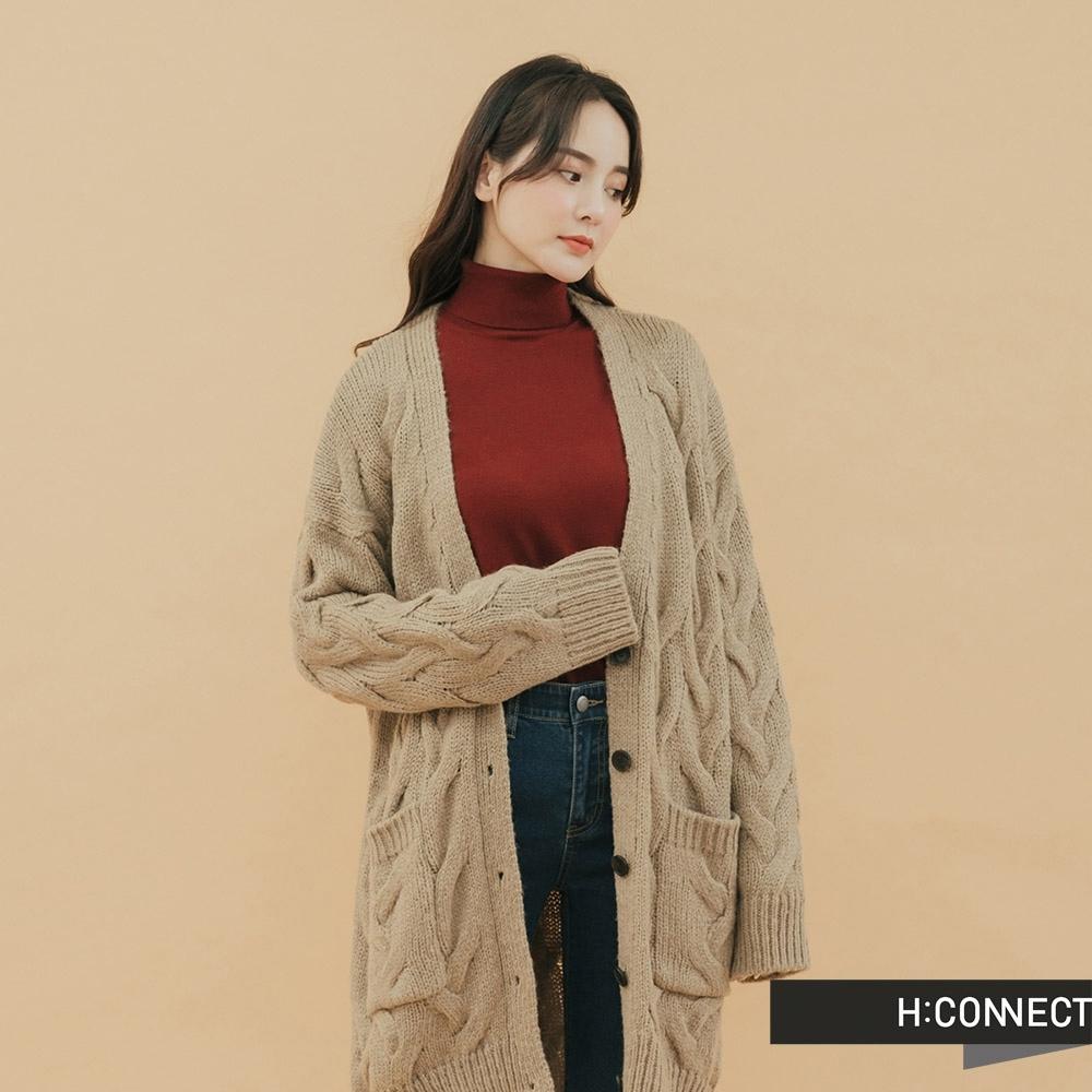 H:CONNECT 韓國品牌 女裝 - 雙口袋造型針織外套 - 卡其