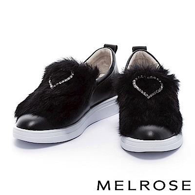 休閒鞋 MELROSE 奢華甜美愛心鑽飾設計柔軟兔毛全真皮休閒鞋-黑