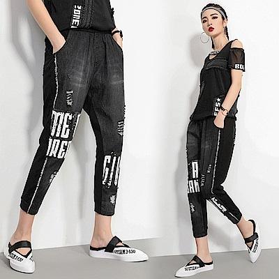 個性時尚印花休閒牛仔褲M-XL-CLORI