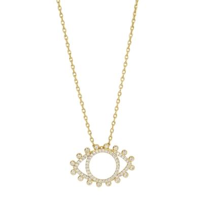 Orelia英國品牌 鏤空鑲鑽惡魔之眼金色項鍊