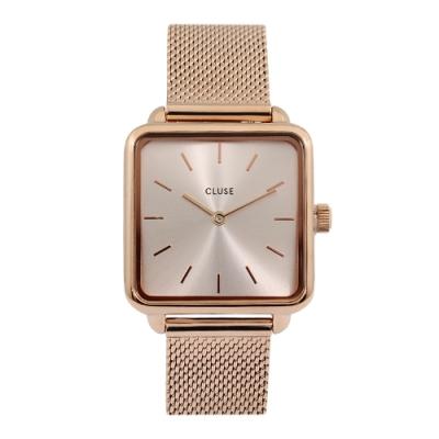 CLUSE荷蘭精品手錶 La Tétragone系列 玫瑰金錶盤米蘭錶帶28.5mm