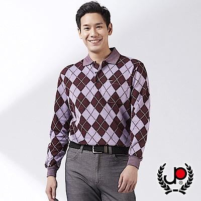 Christian 時尚運動休閒菱格紋POLO衫_紫(PW575-18)