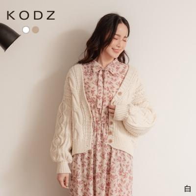 東京著衣-KODZ 絕美百搭寬版麻花粗針織毛衣外套
