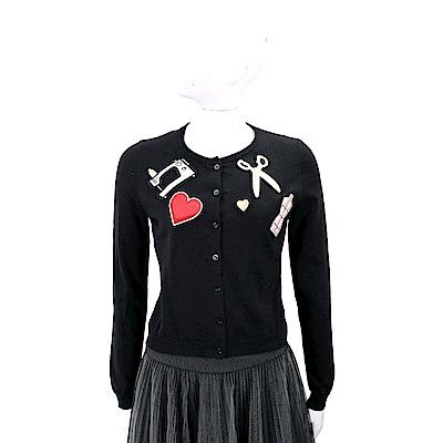 MOSCHINO 黑色裁縫拼貼設計純羊毛針織外套