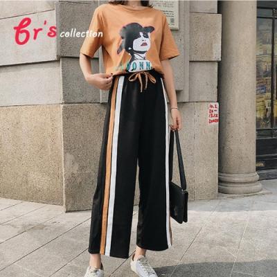 【brs】棉混紡二件套街風開叉闊腿褲(上衣+褲子)-2色