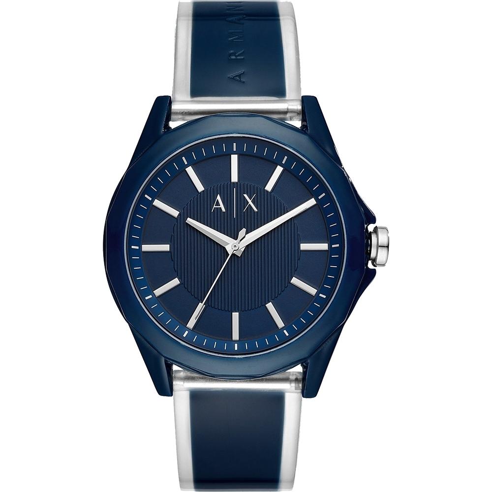 A│X Armani Exchange 廣告款 透視錶帶手錶-藍/44mm