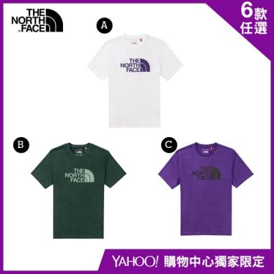 【The North Face】YAHOO獨家限定-北面男女款經典LOGO短袖上衣-6款任選
