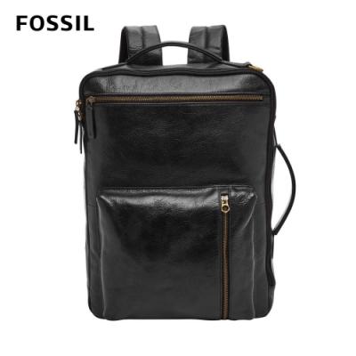 FOSSIL BUCKNER三用真皮電腦後背包-黑色 MBG9461001