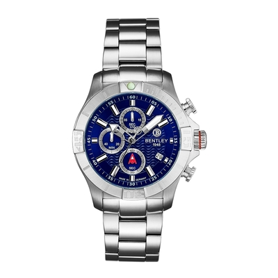 Bentley 賓利 AQUAMARINE系列 三眼不銹鋼手錶-藍面x銀43mm