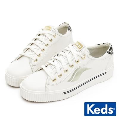 Keds CREW KICK ALTO 時髦Wave厚底皮革休閒鞋-奶油白