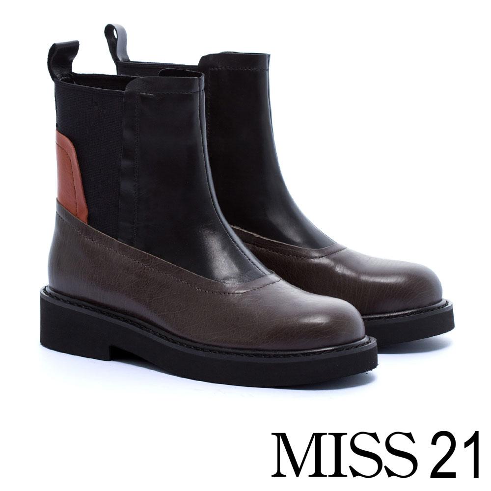 中筒靴 MISS 21 魅力個性異材質拼接牛皮厚底中筒靴-咖